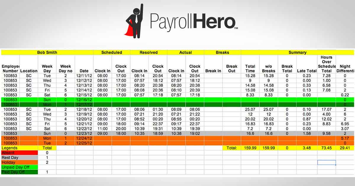 Print Or Send A Clean Excel Sheet With Your Employees Tracked Hours